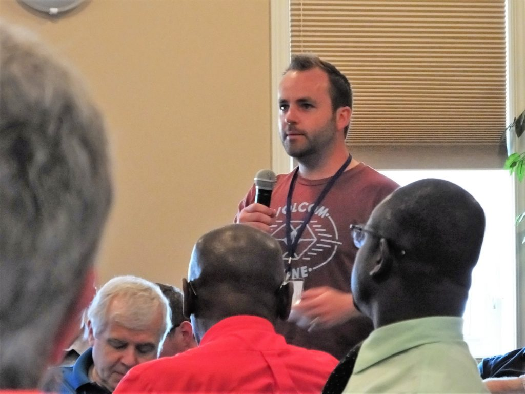 Matty Coppin, site pastor from The Father's House Christian Fellowship in Morinville, AB, summarizes his discussion group's views.